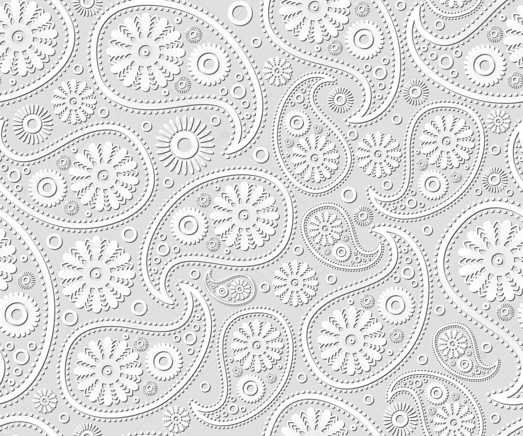 seamless paisley ornament black white vector floral background