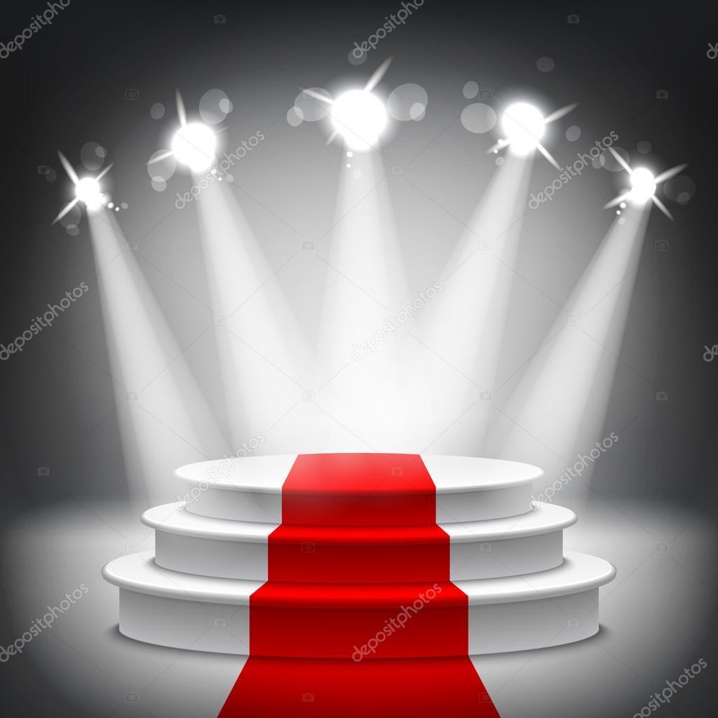 Illuminated stage podium red carpet award ceremony vector ...