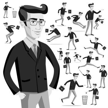 business flat web infographic vector grey men people