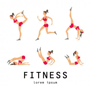illustrations stretching exercises related jogging performed beautiful brunette