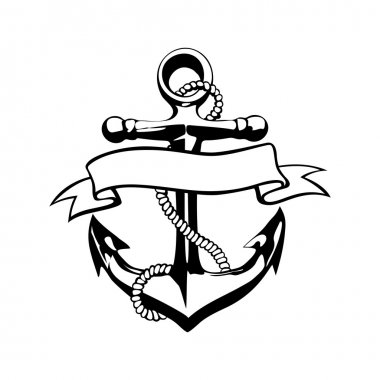 Anchor icon vector, tattoo, logo, grunge, design, floral, hand,