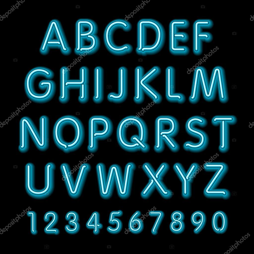 Neon glow alphabet  Vector design party retro 3d neon font
