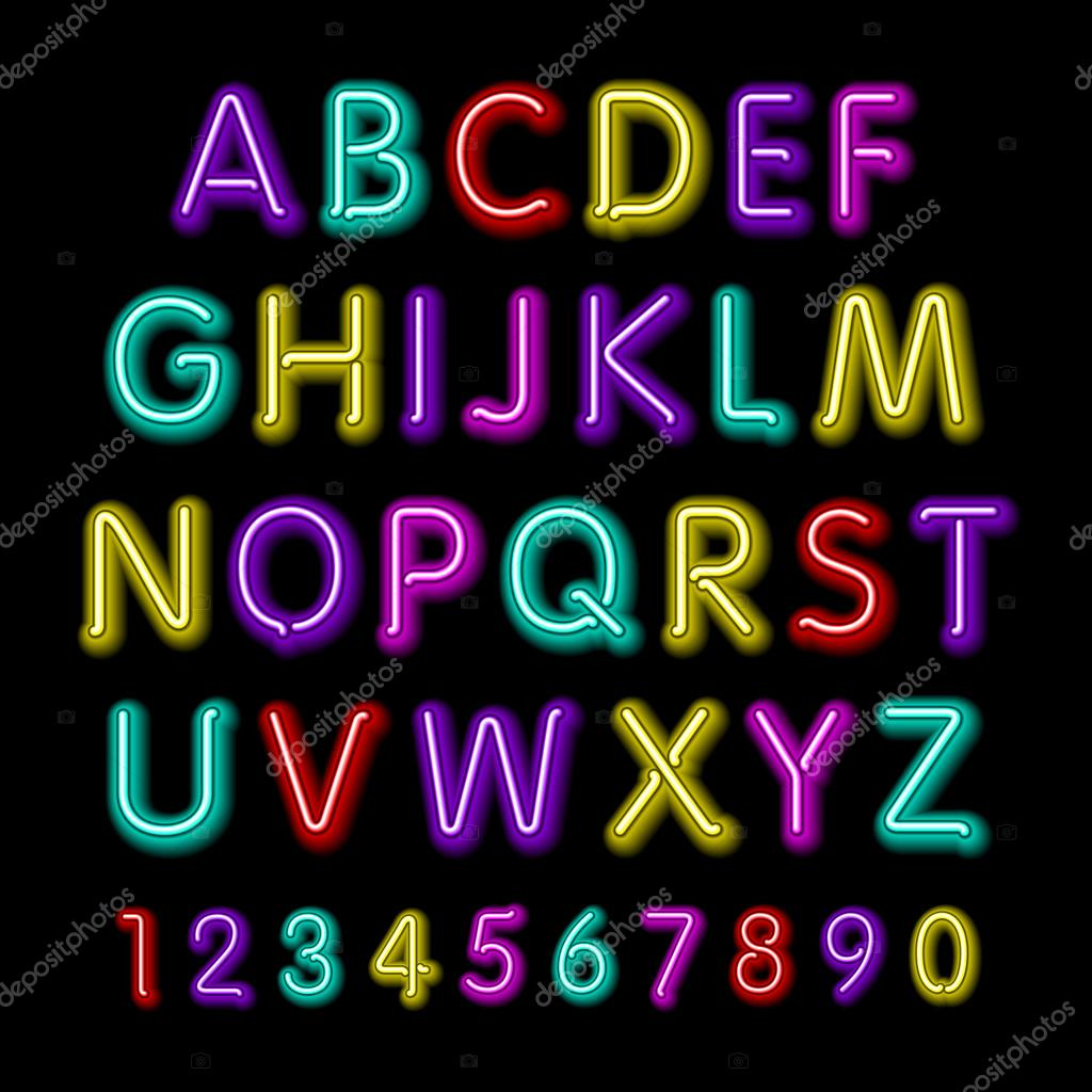 Neon glow alphabet  Vector design party retro 3d neon font