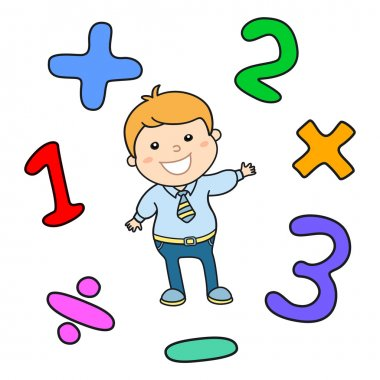 Cartoon style math learning game illustration. Mathematical arithmetic logic operator symbols icon set. Template for school teacher educational usage. Cute boy student character. Calculation lesson.