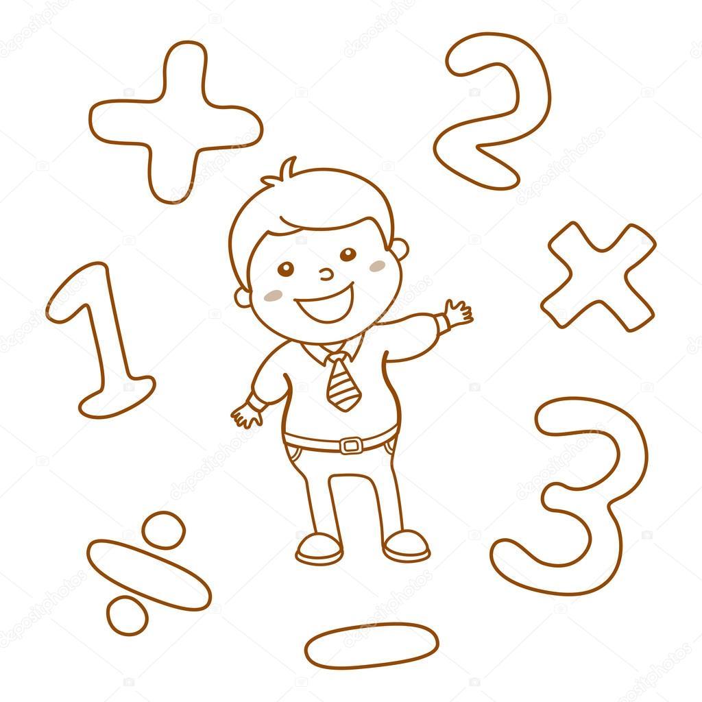 Matemáticas de estilo de dibujos animados ilustración juego de ...