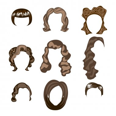 Woman , man hair, vector hairstyle silhouette brunette hairstyle clip art vector