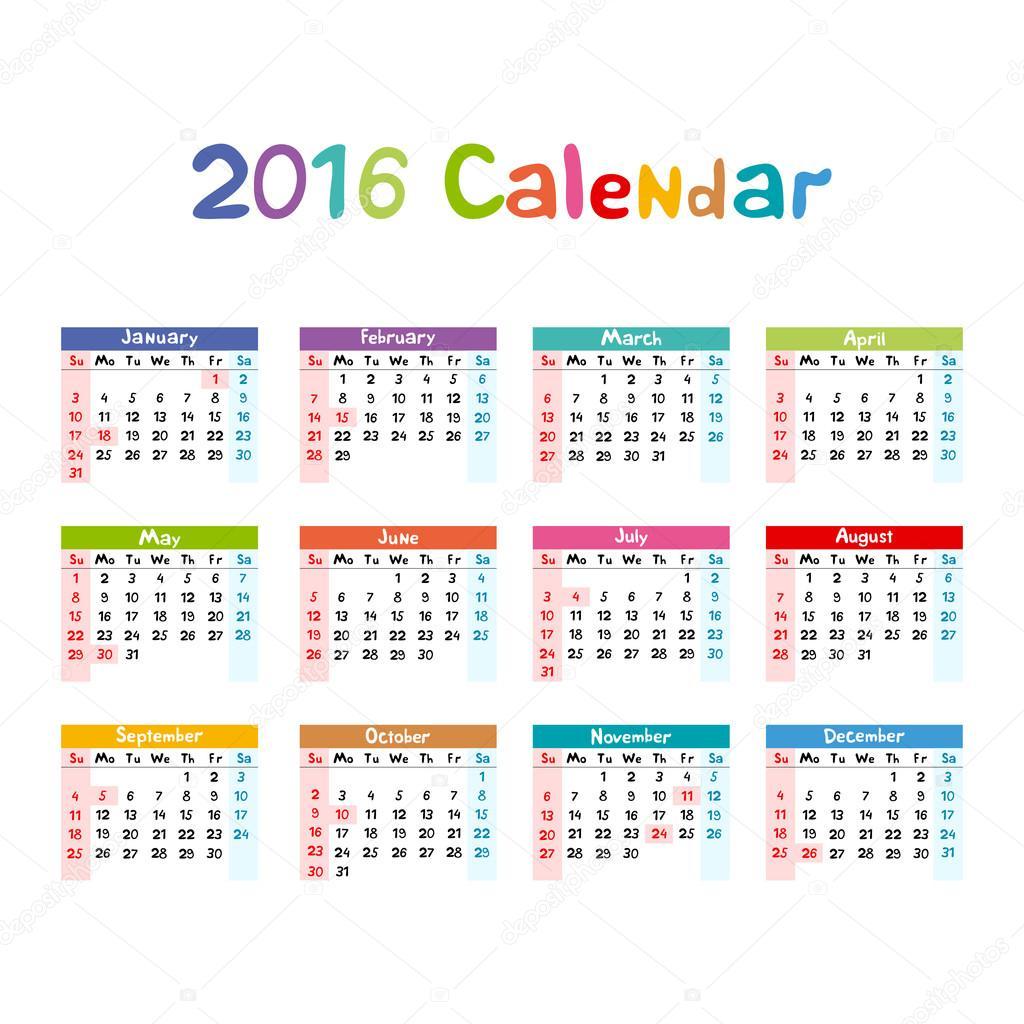 2016 カレンダー イラスト子供手作り ストックベクター romanchik