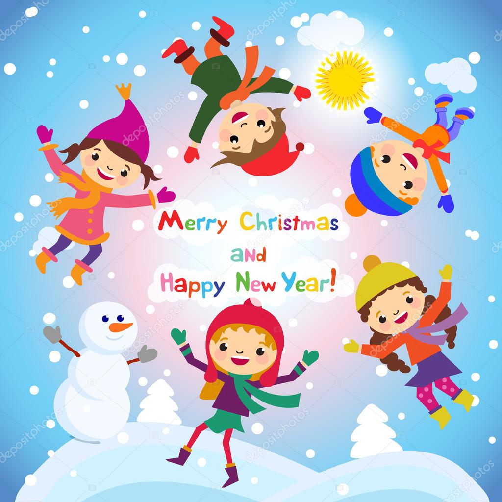 shiny vector christmas background with funny snowman and children happy new year postcard design with