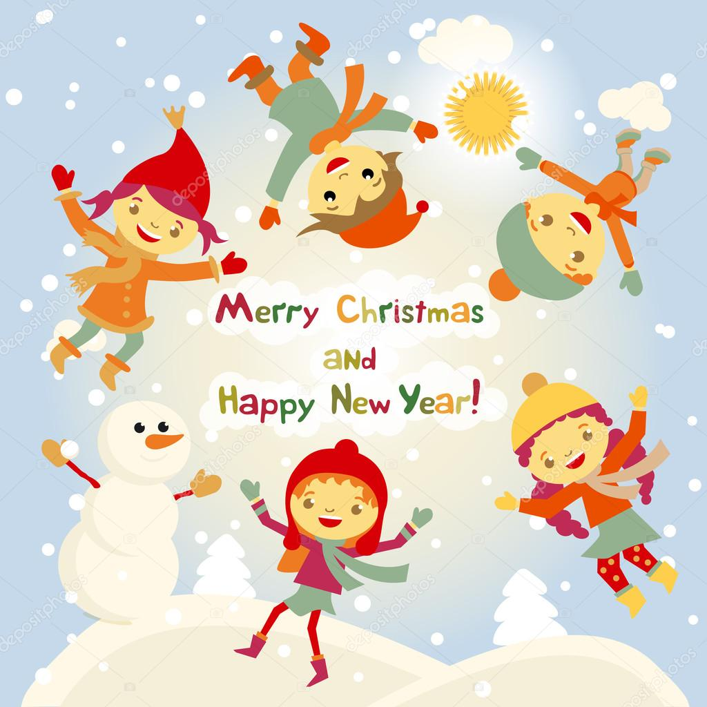Shiny vector christmas background with funny snowman and children ...
