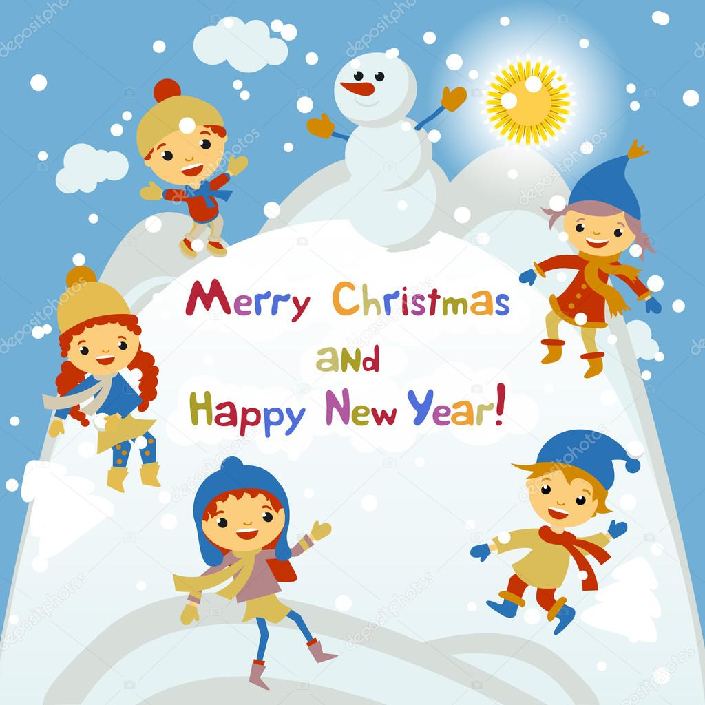 shiny vector christmas background with funny snowman and
