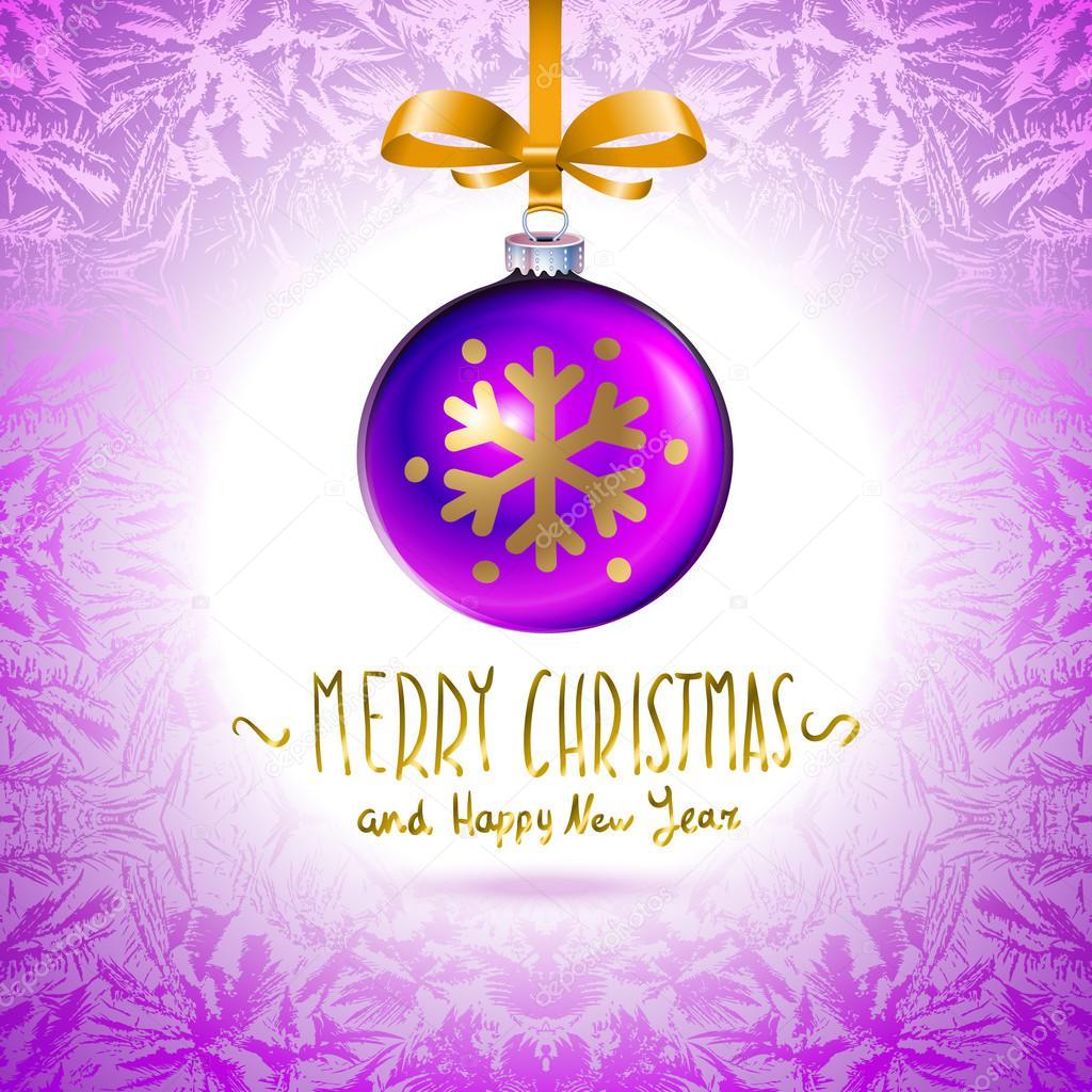 modèle Illustration avec simple violette brillante boule de Noël ...