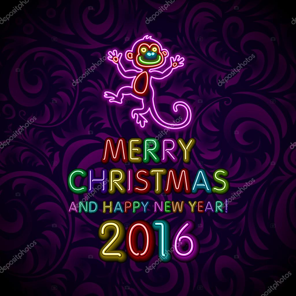 vector illustration of 2016 new year outline neon light background for design website banner