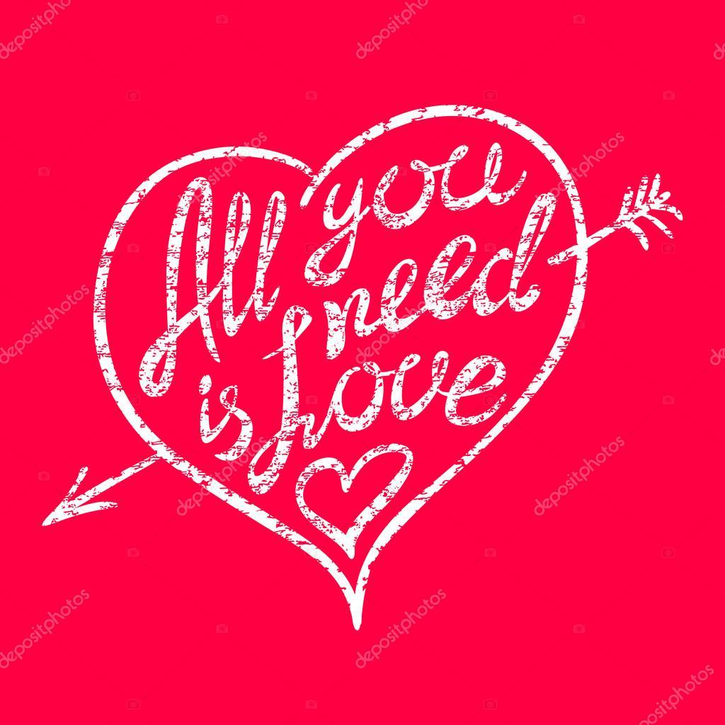 Vintage \'Todo lo que necesitas es amor\' escrito a mano Letras ...