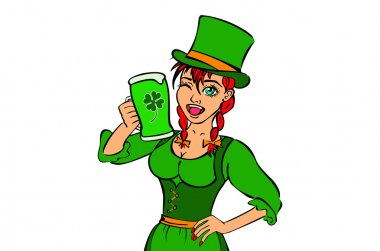 Beautiful leprechaun girl with beer and smoking pipe, St. Patrick's Day logo design with space for text, isolated