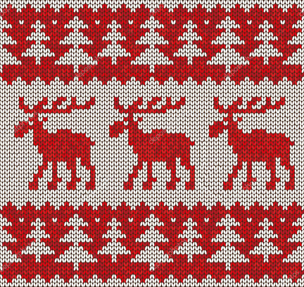Scandinavian flat style knitted pattern with moose .Vector ...
