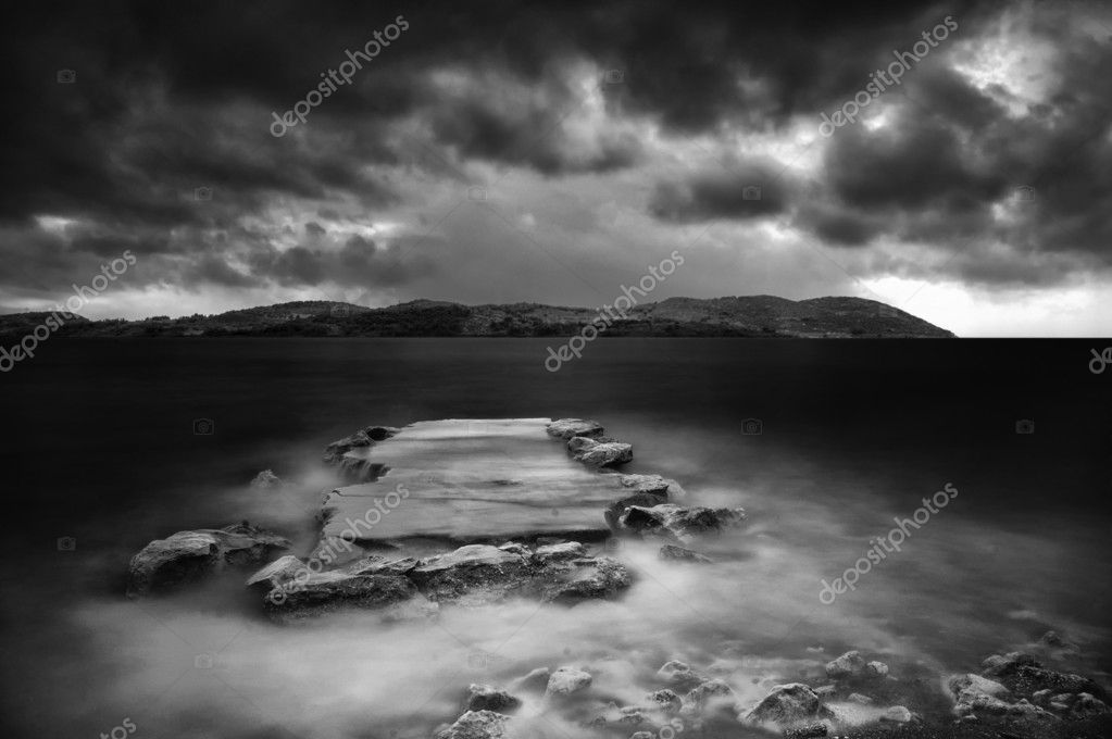 Wharf storm sea