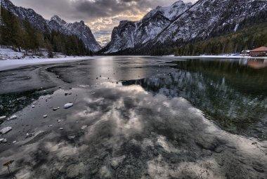 Icy mountain lake