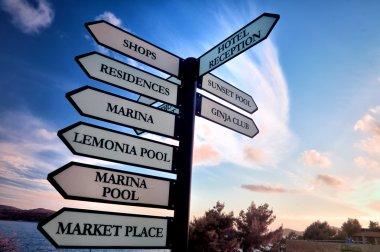 Signpost with resort pointers
