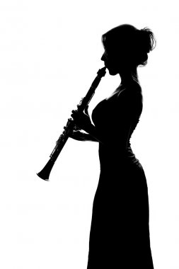 Silhouette of girl with clarinet