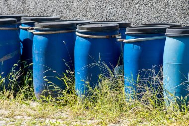 blue drums for waste