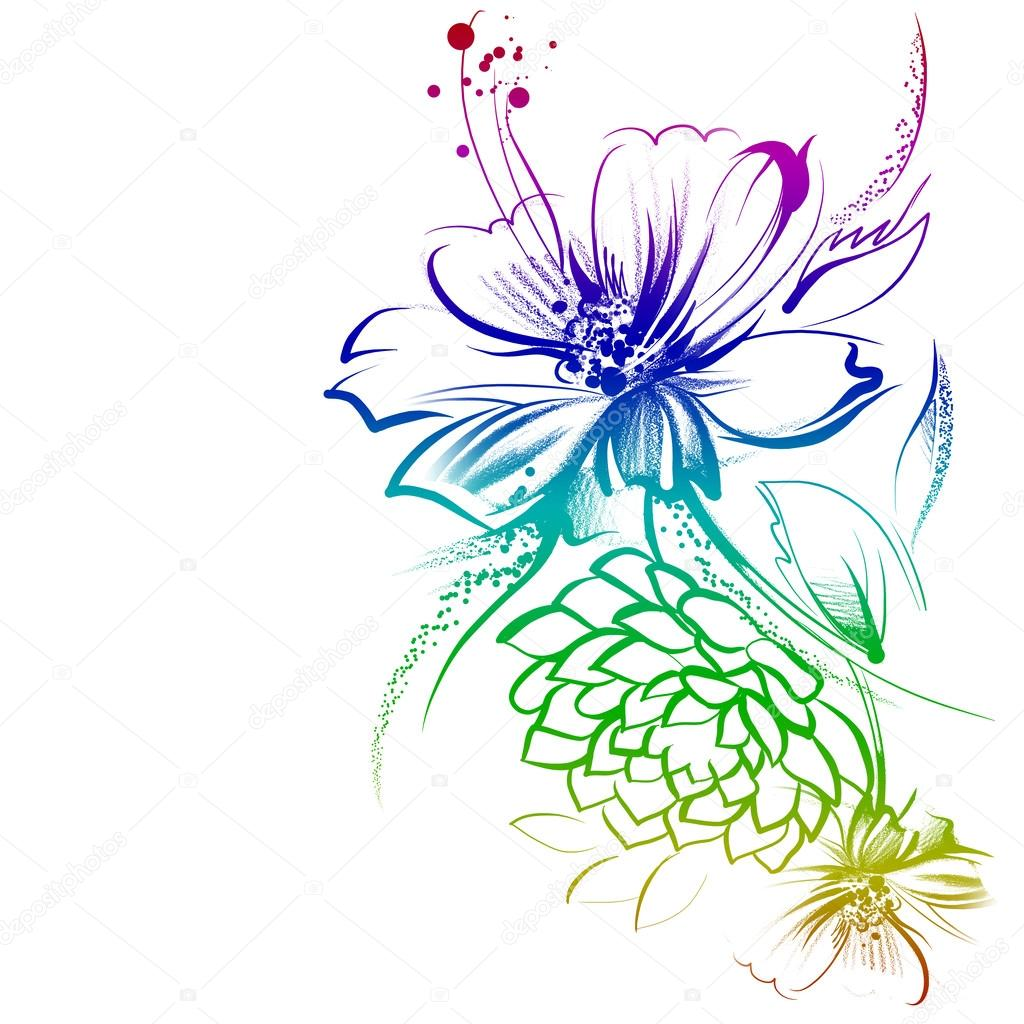 Bright Flowers Outline Stock Photo Allween 58963461