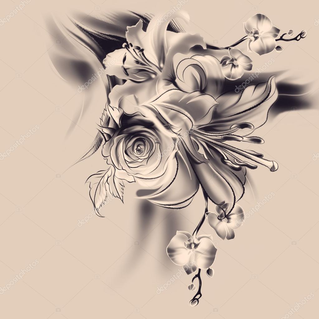 Dibujos Pergaminos Con Rosas Flores Dibujo A Lápiz Foto De