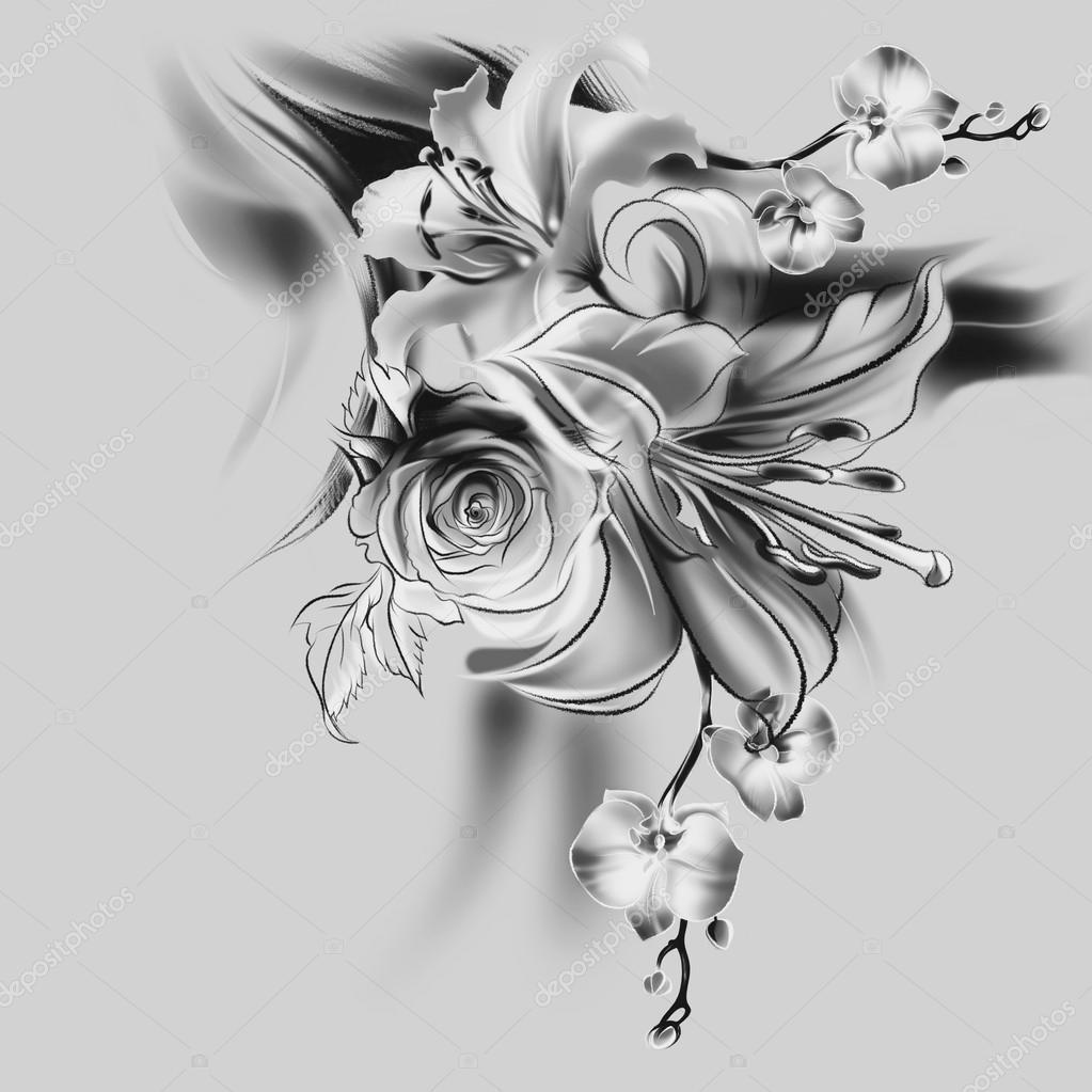 Blumen Bleistiftzeichnung Stockfoto Allween 61128757