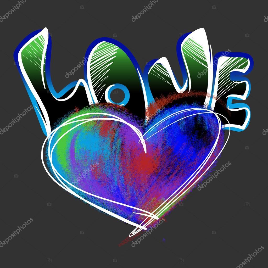 Corazón y la palabra amor dibujado con tizas de colores sobre fondo negro imágenes graffitis de amor a lapiz de corazones foto de