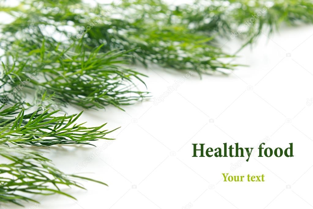 Zweige Grün Dill auf einem weißen Hintergrund. Rahmen mit ...