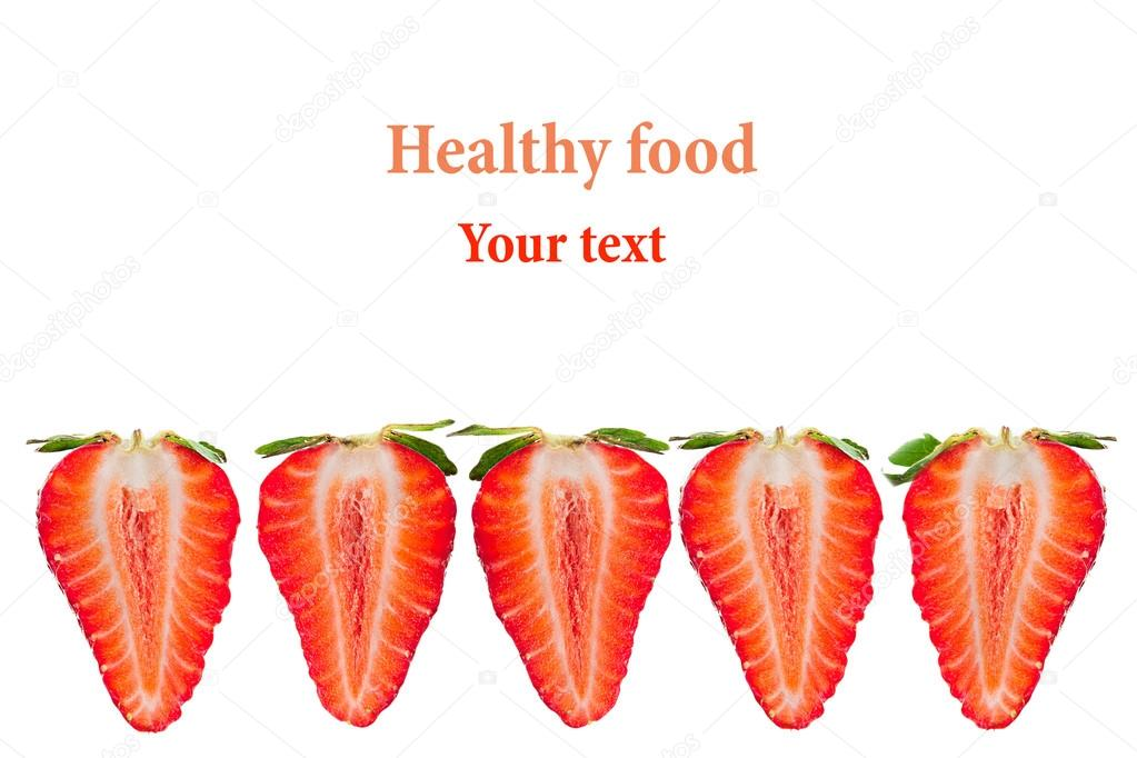 Frame of strawberry slices with a copy space. Isolated. Macro ...