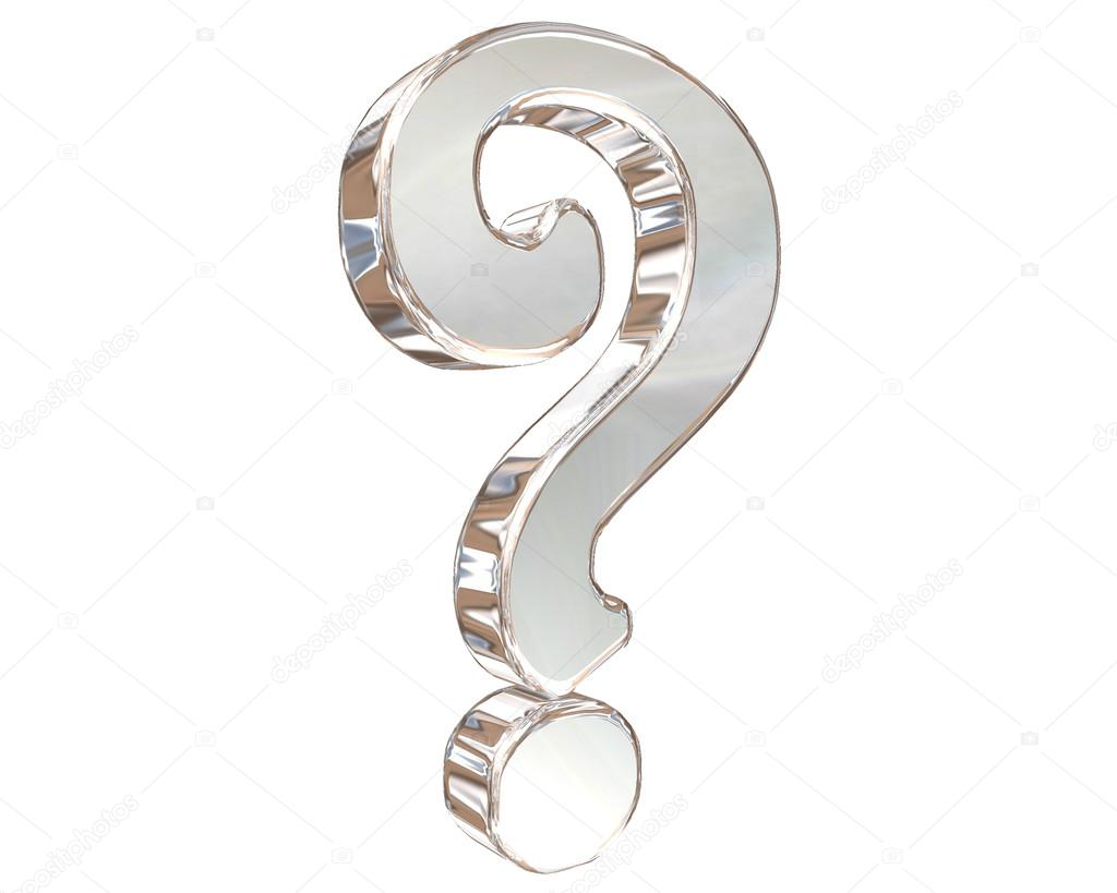Silver Question Mark Symbol On A White Background Stock Photo