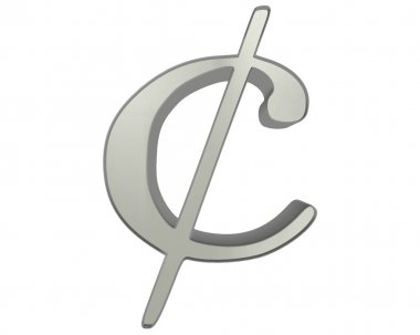 The symbol of the sign of the original recording cents on a white background