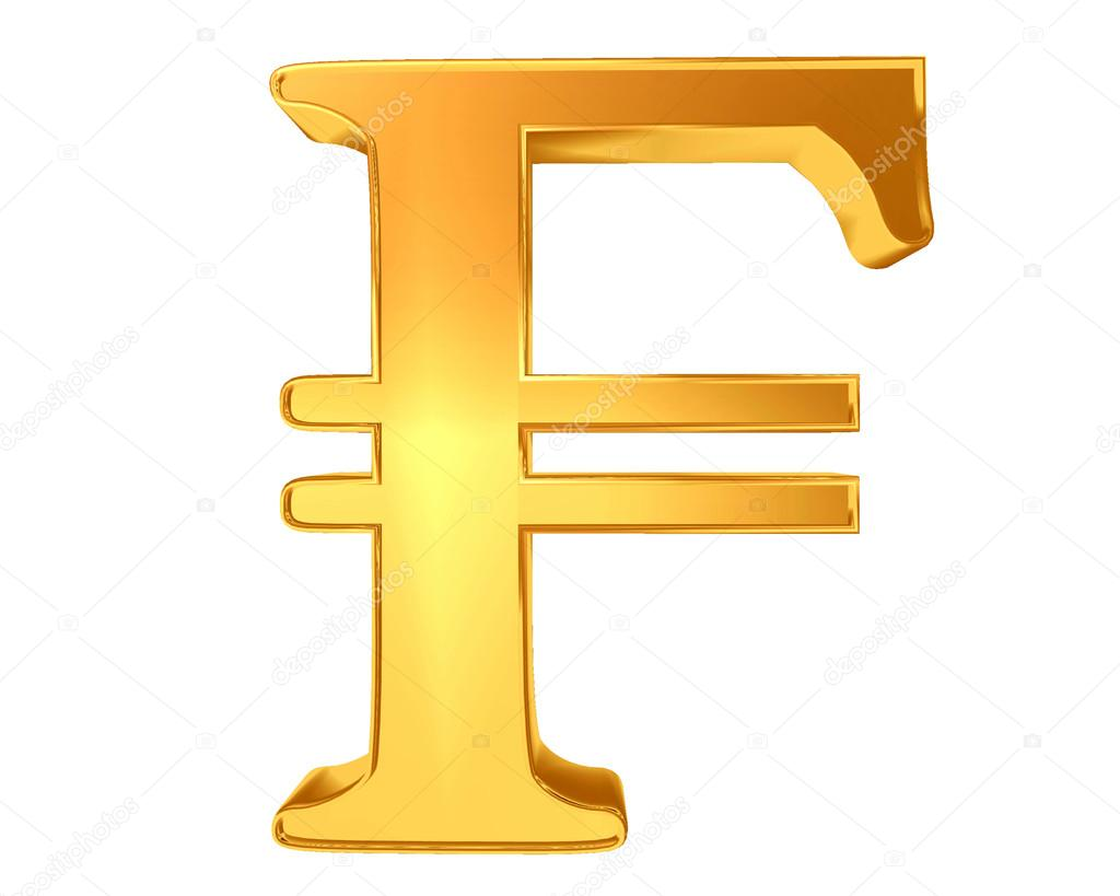 Currency Symbol French Franc On A White Background Stock Photo