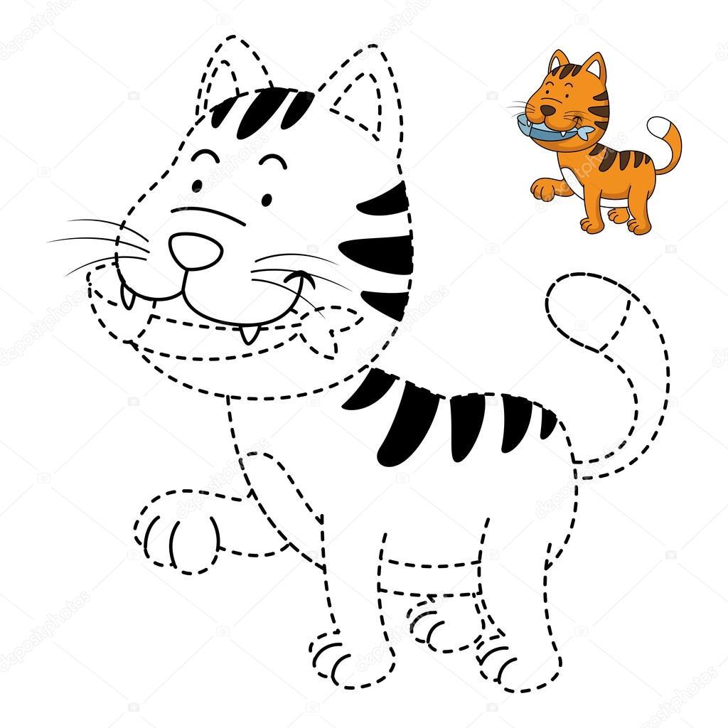 Eğitici Bir Oyun Illüstrasyon çocuklar Ve Kitap Kedi Boyama Için
