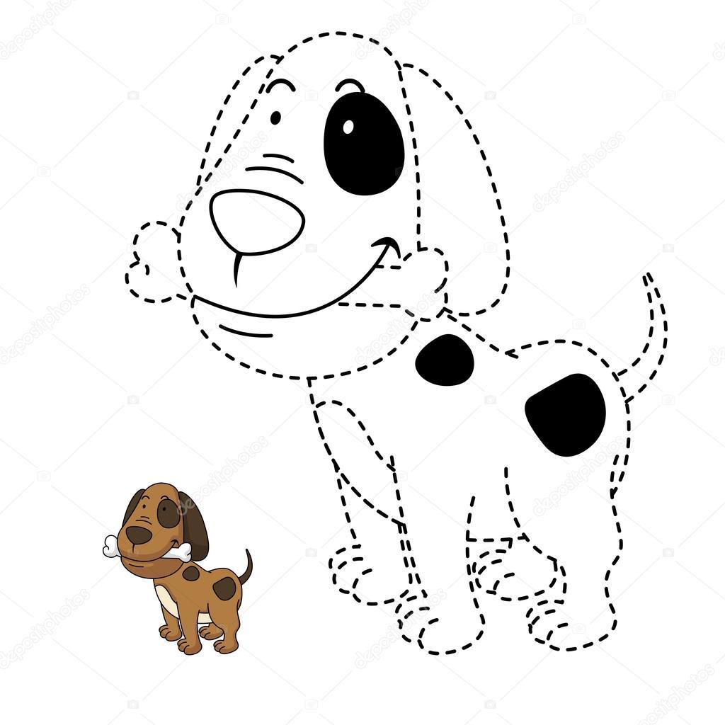 Eğitici Bir Oyun Illüstrasyon çocuklar Ve Kitap Köpek Boyama Için