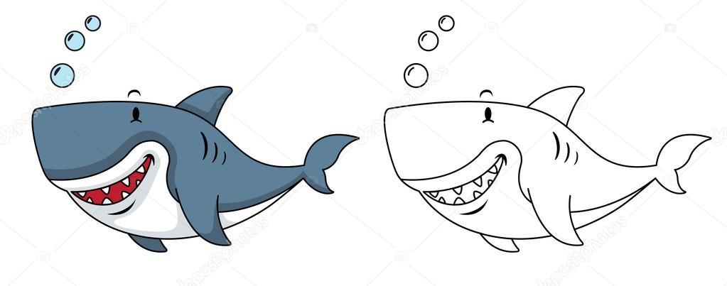Eğitim Boyama Kitabı Köpek Balığı Resmi Stok Vektör Jehsomwang