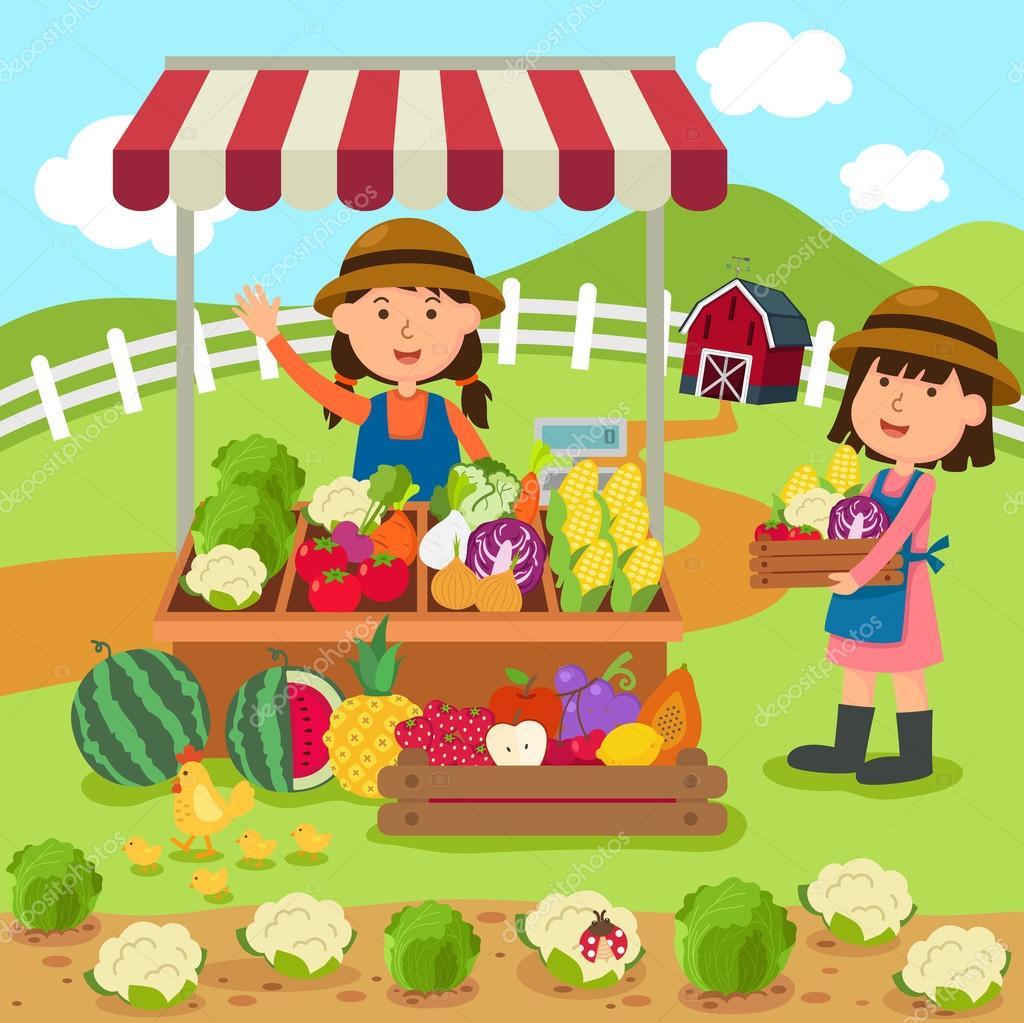 Illustration Cartoon Woman Sells Fresh Vegetables And