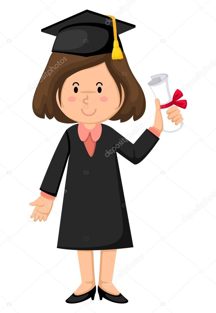 girl in graduation gown — Stock Vector © jehsomwang #52927879