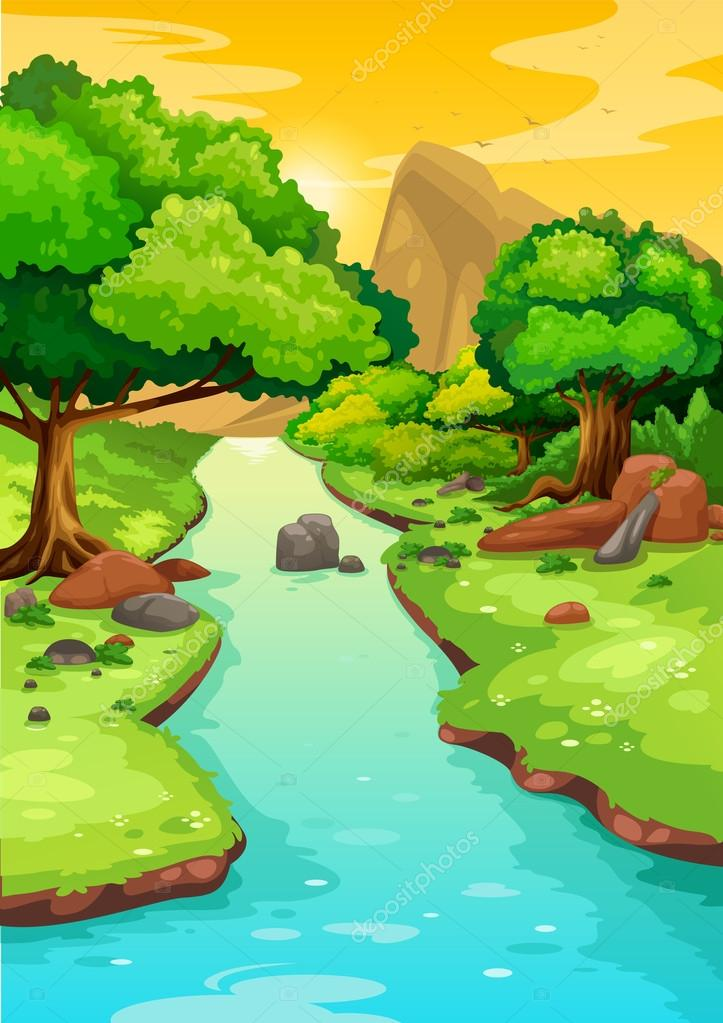 forest with a river background vector