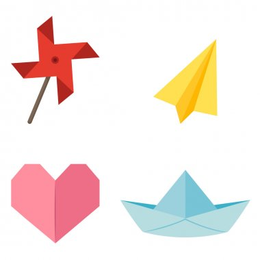 origami windmill,aircraft,h eart,ship vector