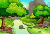 ilustrace lesa s řeky pozadí vektor