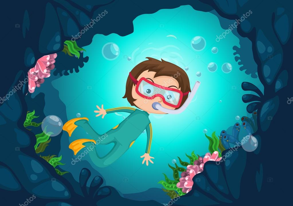 boy scuba diving vector