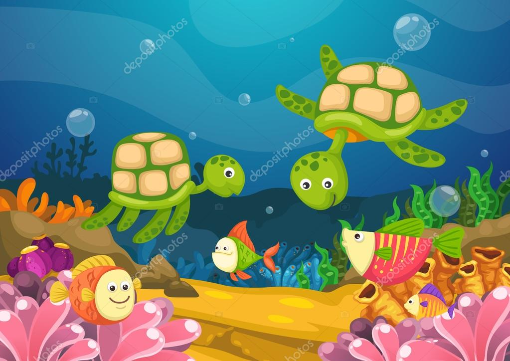 marine life under the sea vector