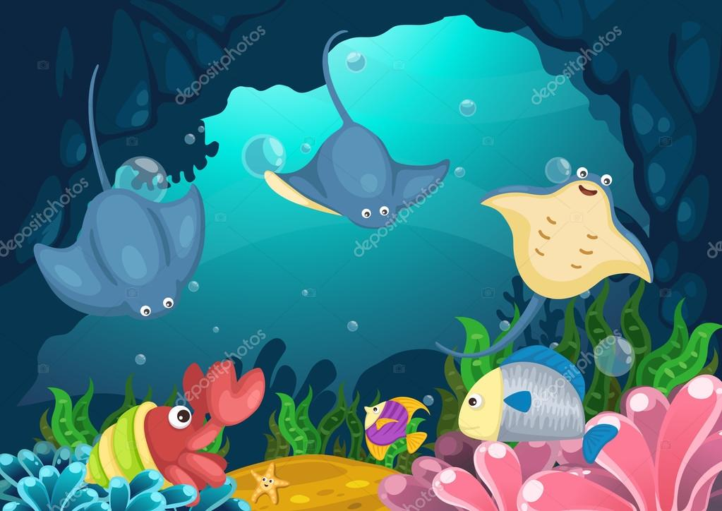 marine life under the sea vector