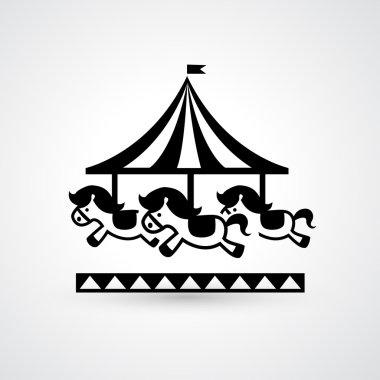 Vintage merry-go-round carousel icon vector