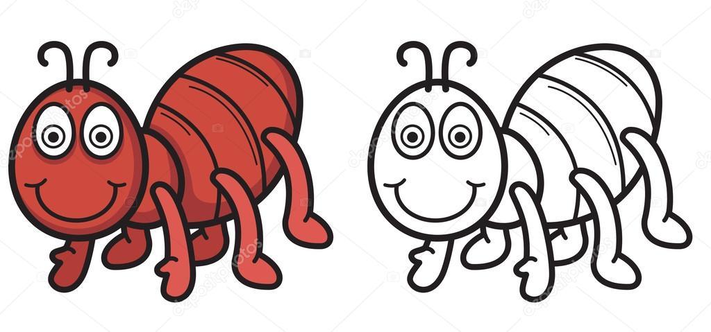 Kitap Vektör Boyama Için Renkli Ve Siyah Beyaz Karınca Stok Vektör
