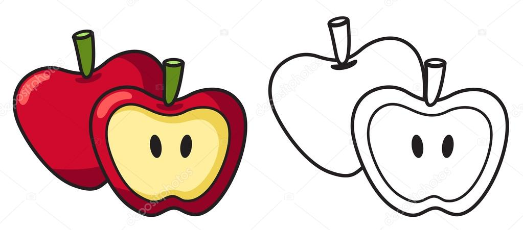 Colorful and black and white apple for coloring book vector — Stock ...