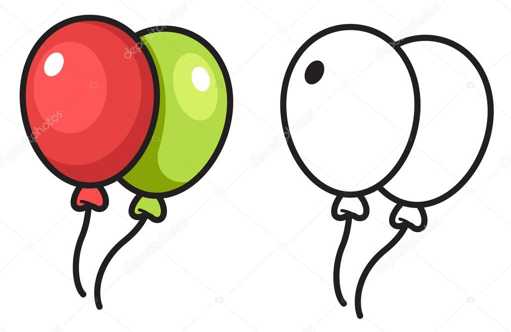 Colorful And Black And White Balloon For Coloring Book Vector