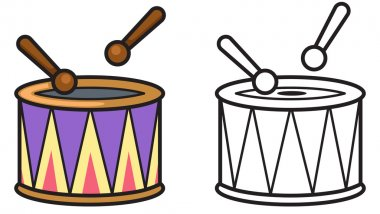 colorful and black and white drum for coloring book
