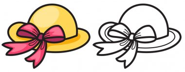 colorful and black and white hat for coloring book